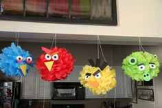 Clever + Angry...angry birds tissue poms: via Sprinkled Waffles Etsy.