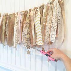 Holly's Rag Garland Tutorial – Model Behaviors Burlap Garland, Ribbon Garland, Fabric Garland, Fabric Bunting, Bunting Garland, Diy Ribbon, Buntings, Burlap Lace, Rag Curtains