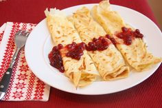 Swedish pancakes with lingonberry jam! I simply love lingonberries :)