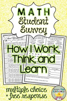 Middle School, Back To School, Student Survey, Great Schools, Learning Styles, New Students, Math Skills, Teaching Materials, Math Classroom
