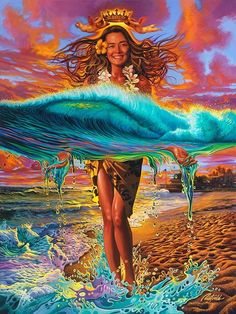 """""""The Queen of Makaha Rell Sunn"""" by Rick Rietveld Fine Art, Illustration and Graphic design"""