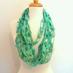 Green Wool Infinity Scarf  Long Felted Scarf  by Sesenarts on Etsy, $38.00