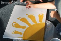 You Are My Sunshine Footprint Art ~ This would be so adorable as a Mothers Day card for Grandma or Fathers Day card for Grandpa! Ezra idea