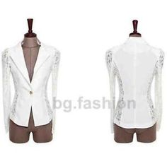 White Blazer With Lace Sleeves And Sides Size 16