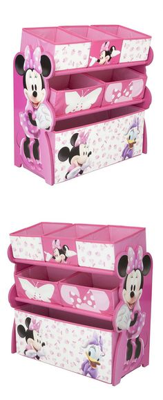 Rosa Minnie Mouse Spielzeugregal | 6 Spielzeugkisten | Stauraum für das Kinderzimmer