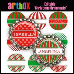 EDITABLE CHRISTMAS ORNAMENTS Bottle Cap Images - 4x6 Bottlecap Digital Jpeg Collage Sheet - Scrapbooking Pendants Hairbows Buttons Magnets