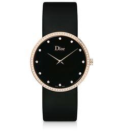 La D de Dior, 38mm, quartz movement, pink gold case, bezel, crown and buckle set with diamonds, onyx dial set with diamonds, sapphire crystal glass, black satin bracelet. Discover more on www.dior.com