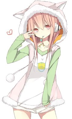 Anime girl. I know I already pinned this to my other board but it really belongs in this one. love the ears so cute