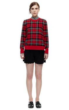 Scholarly Plaid Jacquard Shane Crew by Equipment for Preorder on Moda Operandi   (For the love of Plaid)