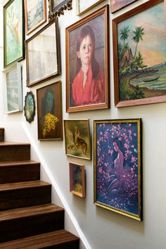 vintage flea market finds line the stairs