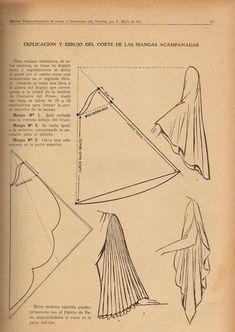 explicación y dibujo del corte de las mangas acampanadas