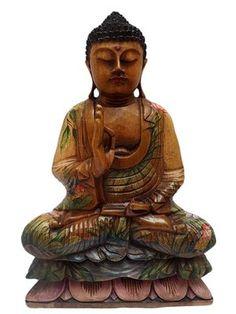 Escultura de Buda em Madeira c/ Pintura Artística 50cm http://www.artesintonia.com.br/escultura-de-buda-em-madeira-c-pintura-artistica-50cm