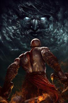 Kratos facing Zeus