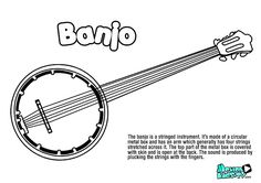 BANJO coloring pages, musical instruments, music educational resources