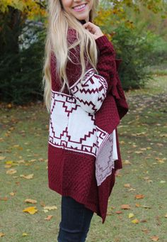Maroon and aztec, need we say more. http://www.sidelinesass.com/collections/outerwear