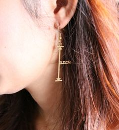 How long is it  Measurement Vector Earrings - Mathematical Geometric Arrow Brass - Hand Craft on Etsy, $23.00