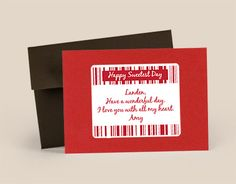 Personalized Sweetest Day Cards: Sweetly Striped Note Card wrappedhersheys.com #sweetestday #card #holiday #whcandy Happy Sweetest Day, Note Cards, Card Making, Notes, Holiday, How To Make, Index Cards, Report Cards, Vacation