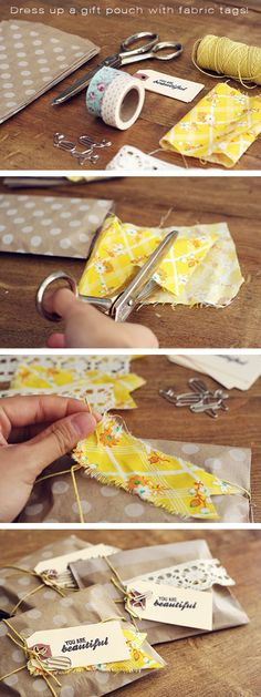 Dress up a gift pouch with fabric tags... http://dixielandcountry.com/great-diy-gift-wrap-ideas/