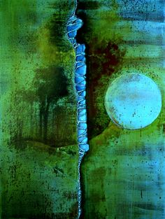 "Saatchi Online Artist Roxanne Grooms; Mixed Media, ""Turquoise Dot - SOLD"" #art"