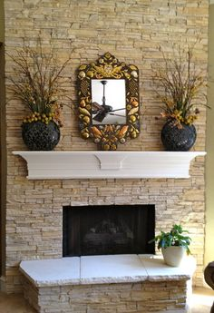 Faux Fireplace Design, Pictures, Remodel, Decor and Ideas - page 16 Instead of building new mantle, use faux stone and add shelf. Faux Stone Fireplaces, Fireplace Mantle, Living Room With Fireplace, Fireplace Design, My Living Room, Fireplace Ideas, Fireplace Stone, Mantel Ideas, Wood Mantle