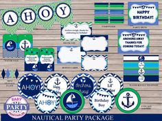 Ahoy Birthday Boy Package SALE Instant by EasyPartyPrintables,