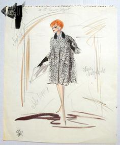Edith Heads original costume sketch for Lucille Ball in the movie Critic's Choice