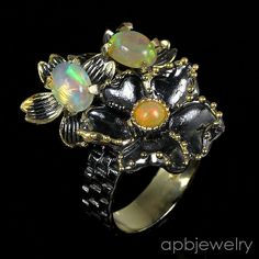 Handmade fine Art Natural Opal 925 Sterling Silver Ring Size 7.5/R27071 #APBJewelry #Ring