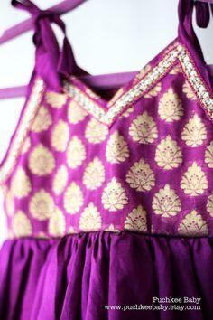 Handmade Purple Indian brocade and silk dress by PuchkeeBaby