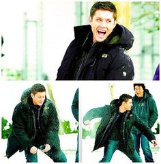 Jensen Ackles behind the scene of Supernatural