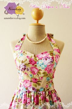 Sweet Floral Dress Powder Green Pink Blue Purple Rose by Amordress, $45.00