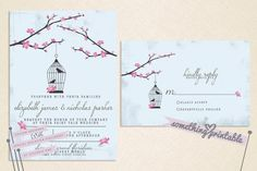 Love Birds - Cherry Blossom Printable Wedding Suite Design with Bonus Thank You card. $20.00, via Etsy.
