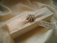 Wedding Certificate box / Scroll box in ivory with pearl  diamante brooch. www.quillsweddingstationery.co.uk