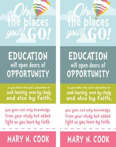 """Oh the Places You'll Go!"" bookmarks (free printable) for lesson on Gaining an Education and Developing Skills designed by All Things Bright and Beautiful"