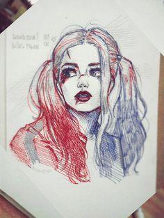 quinn harley joker drawing sketches david tattoo drawings easy queen artstation suicide squad simple badass dibujos pan ideen marvel sketch