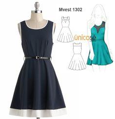 Este vestido es un clásico y nunca pasará de moda. El molde está en www.unicose.net / Código 10101302