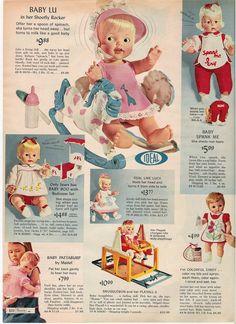 """Baby Lu in her Shoofly Rocker""    1966_SearsChristmas_Page610"