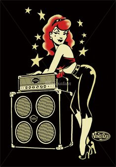Vince Ray (Artist) - Low Brow Pop Surrealism Retro Illustrations Rockabilly pinup leaning on amp and speakers Pinup Art, Rockabilly Pin Up, Rockabilly Fashion, Rockabilly Decor, Rockabilly Artwork, Rockabilly Tattoos, Brainstorm, Dibujos Pin Up, Drawn Art
