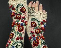 Guantes sin dedos, marfil, rojo, 31 cm de punto largo, ropa y accesorios, guantes y mitones