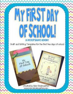 """My First Day of School, A Keepsake Book is a fun little craft to help your students remember their first day of school for years to come!  Print off the pages you need and turn them into a book by stapling them to a 9""""x12"""" piece of yellow construction paper.  Not all of the pages need to be completed on the first day. They can be spread out through the week if needed!   Download the preview file to see what's included! {craft templates included too}"""