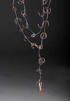 """Paulette Werger: Autumn Vine, Necklace in fused sterling silver and coral. Adjustable length up to 30"""" long."""