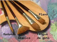 tipos de pinceles principales Brush Type, Paint Set, Art Therapy, Art Supplies, Art Reference, Art For Kids, Folk Art, Decoupage, Drawings