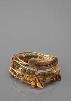 ALEX AND ANI Beaded Feather Bangle Set