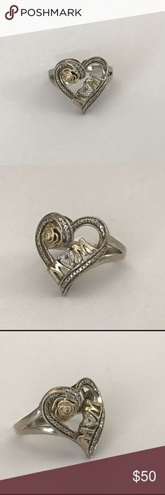 Diamond Accent Love Mom Ring 🌹Set in sterling silver. Has a pretty rose and heart design. Size 6.5🌹 Vintage Jewelry Rings