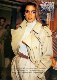 TRENCH COAT, CINDY CRAWFORD, STYLE, 1980'S, EDITORIAL, 80'S FASHION
