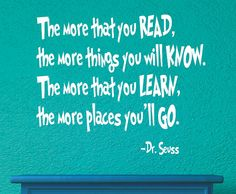 Dr. Seuss Vinyl Decal - Vinyl Wall Decal - Monogrammed Vinyl Lettering - Playroom decor -  The more you read