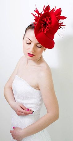 Fashion Designer Red Fascinator Hat with Birdcage Veil, Melbourne Royal Ascot Kentucky Derby, Mother of the Bride Fascinator Hat, evening party Dress hat. Felt winter wedding guest headpiece. Outfit ideas and inspiration. #springracing #kentuckyderby #derbyoutfits #Delmarraces #motherofthebride #outfits #fashion #fashionista #affiliatelink #fascinators