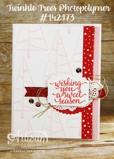 Use the Twinkle Trees stamp set for a background image for a fun Christmas Card- Stampinbythesea.com