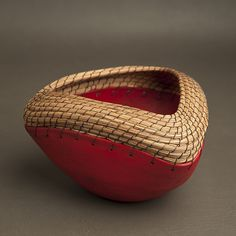 """Triangle Bowl in Red""  Ceramic Bowl    Created by Hannie Goldgewicht"