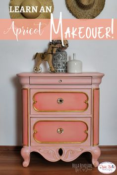 Design your own furniture and learn how to create a budget friendly project with Dixie Belle Paint@ This artist beautifully paired the color Apricot with a Warm Gold Gilding Wax for an outstanding look! Orange Painted Furniture, Painted Furniture For Sale, Paint Furniture, Furniture Projects, Furniture Makeover, Cabinet Inspiration, Color Inspiration, Gilding Wax, Dixie Belle Paint