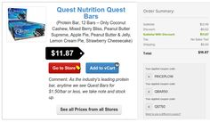 https://www.PricePlow.com/deals TRIPLE COUPON Quest Nutrition Quest Bar DEAL ALERT!  Find this down on our Deals page, choose one of the select flavors, and then after they add their two coupons, add in the PRICEPLOW coupon too! #SupplementDeals
